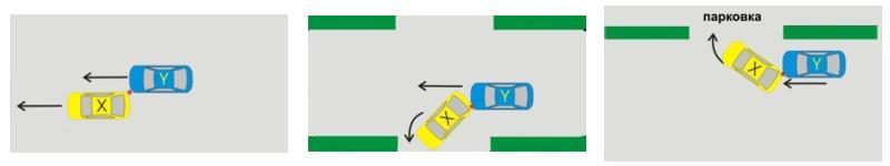 ДТП при движении транспортных средств в одном направлении